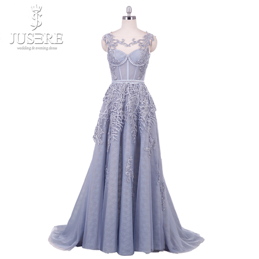 Illusion épaule décoration dentelle dos corsage corsage une ligne étage longueur grille fille bleu clair perles Appliques robe de bal 2018