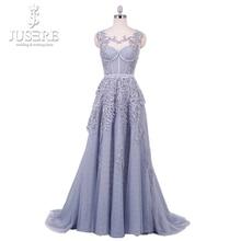 Ilusão Ombro Decoração Lace Voltar Boing Corpete UMA linha Até O Chão Grade Menina Light Blue Beading Apliques vestido de Baile vestido de 2018