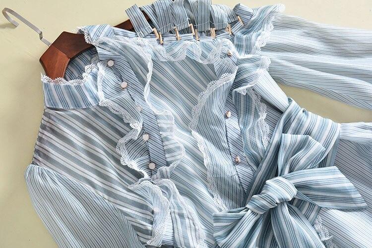 See Orange Брендовое осеннее шифоновое платье, полосатый рукав фонарик, платья, Robe Femme Ete 2018, женское вечернее платье ND2300 - 3