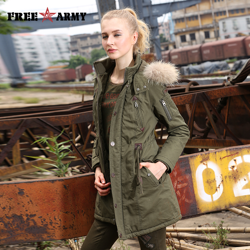 2017 Winter Women Wadded Jacket Female Medium-Long Coat Fur Collar Thickening Hooded Military Womens Outerwear Down Parka GS-889