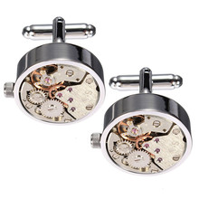 High Quality Cool Silver Watch Movement Mens Cufflinks Clockwork Work Steampunk Vintage Cuff Buttons Cuff Link Wedding Gift