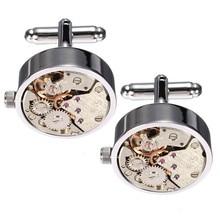 High Quality Cool Silver Watch Movement Mens Cufflinks Clock