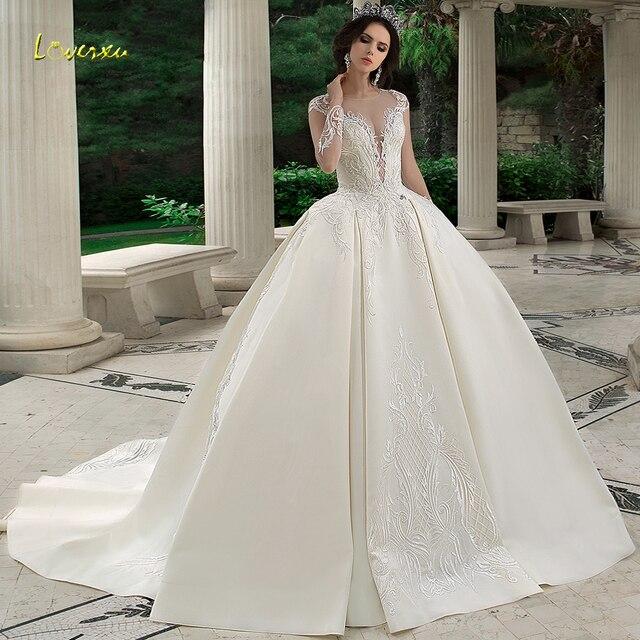 Loverxu スクープ夜会服のウェディングドレス 2019 アップリケビーズロングスリーブ花嫁ドレスチャペルの列車の花嫁衣装プラスサイズ
