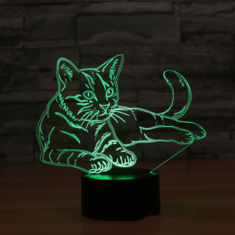 Cat 7 Colors 3D Night Light Table Lamp