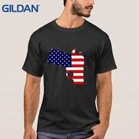Arma Bandeira Americana Patriótica Arma Pring Segurança Ali T Camisas de Algodão Plus Size Camiseta Preta Hip-Tope Fazer Mens
