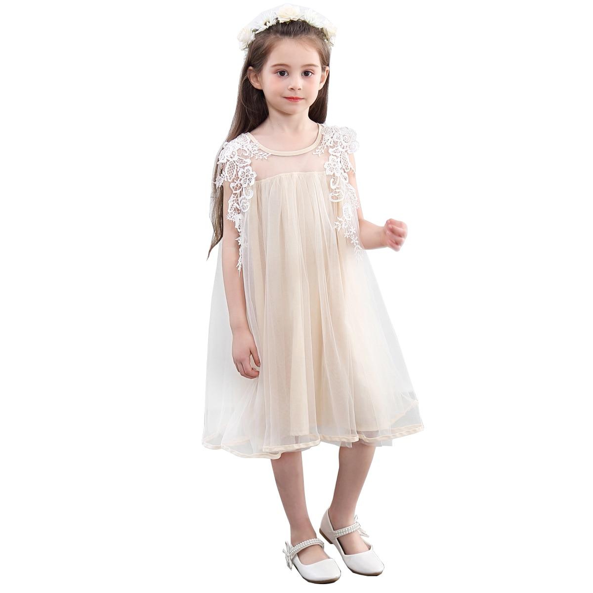 Cute Girl Kids Clothing New Summer 2019 Korean Beige Lace