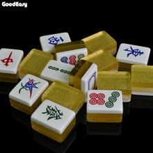 Heißer Verkauf 40mm Luxus Mahjong Set Silber & Gold Mahjong Spiele Home Spiele Chinesische Lustige Familie Tabelle Brettspiel wunderbare Geschenk