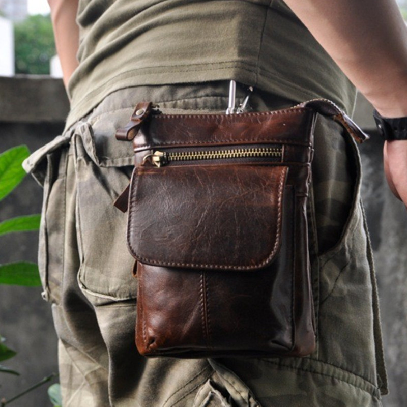 7 inch Genuine Leather Sewing Men Bags Black Brown Waist Pack Single Shoulder Small Messenger Bags