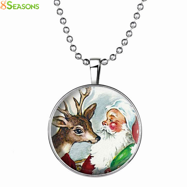 "8SEASONS Glass Necklace Dull Silver Color Christmas Reindeer Round Glow In The Dark 60cm(23 5/8"") long, 1 Piece"