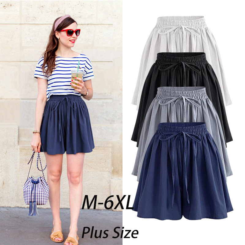 Summer Women Shorts High Waist Loose Chiffon Shorts Plus Size 6XL Female Slacks Large Size Shorts 8001