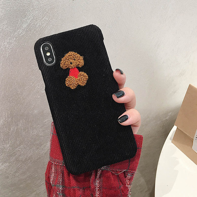 Cute Dog Sheep Embroidery iPhone Cover - Warm Corduroy Hard Cases 4