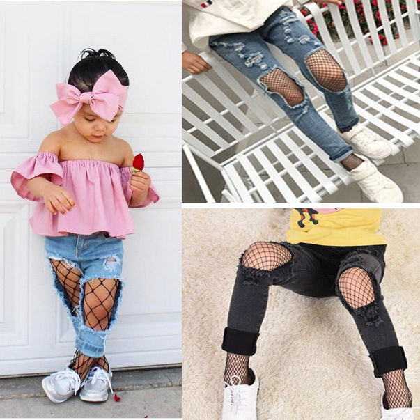 New Fashion Kids Baby Girls Black B&S&M Mesh Fishnet Pantyhose Stockings