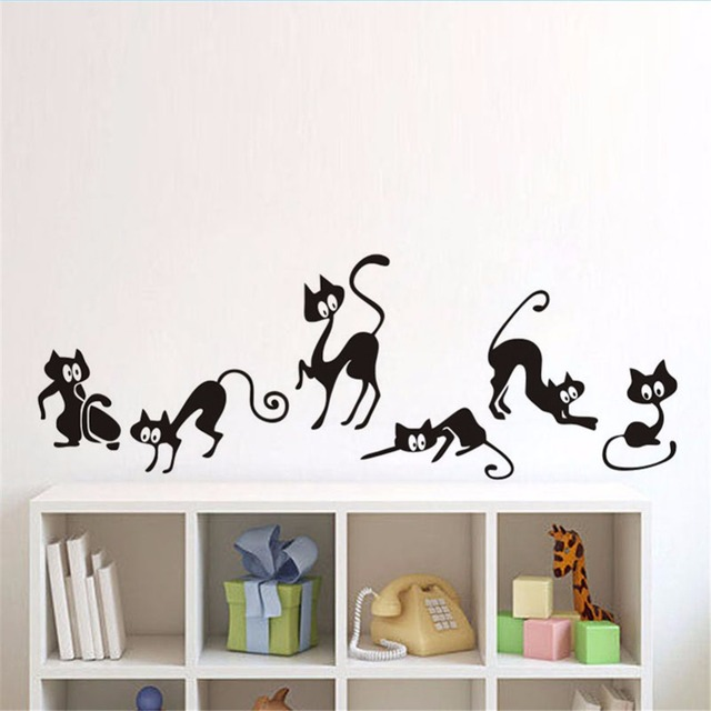 Yanqiao Funny Cat Wall Sticker Bedroom Living Room Mural Art - Wall stickers for bedrooms teens
