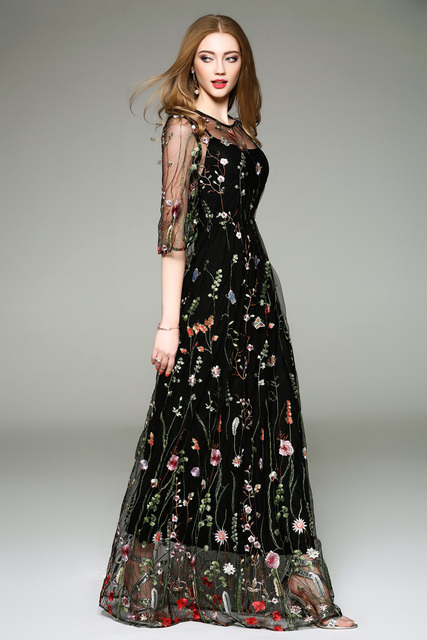 Flower embroidered dress for women