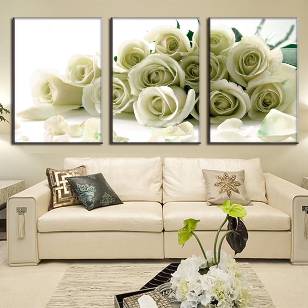 3 pcs set canvas print 3d flower white rose wall art picture with frame modern wall paintings in. Black Bedroom Furniture Sets. Home Design Ideas
