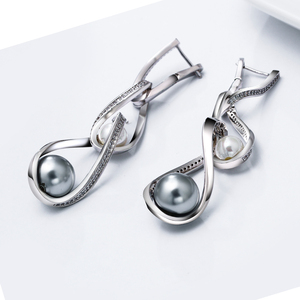 Image 3 - New model 6.7cm long earrings white+grey pearl cubic zirconia crystal trendy silver plated jewelry dangling big drop earring