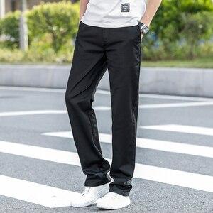 Image 5 - 2020 letnie nowe męskie Khaki cienkie spodnie na co dzień Business Fashion Solid Color wysokiej jakości proste spodnie bawełniane męskie marki