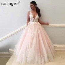 Princesa rosa claro Sexy cuello pico apliques flores una línea Vestido De novia con apliques vestidos De novia Vestido De novia hecho A medida