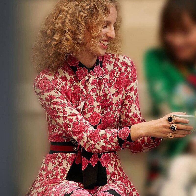 Alta Qualità Designer Runway 2018 Donne della Molla di Modo Office Party Beach Boho Api Cinture Chic Vintage Print Dress Long Sleeve