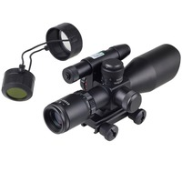 HuntingTactical Compact Laser Riflescope 2 5 10x40 Rifle Scope Laser Green Sight Reflex Red Green Dual