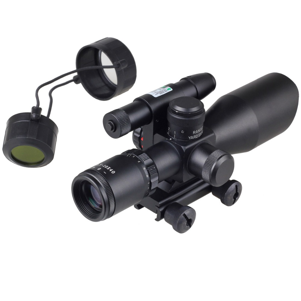 Compact Riflescope 2.5-10x40 Rifle Scope Laser Green Sight Reflex Red&Green Dual illuminated Mil-dot Sight Hunting 20mm Rail 3 10x42 red laser m9b tactical rifle scope red green mil dot reticle with side mounted red laser guaranteed 100%