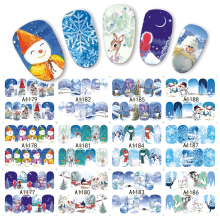 1 sheet Winter Snowman Snowflake Designs Water Transfer Nail Sticker Nail Art Decorations Manicure Tools Decal JIA1177-1188