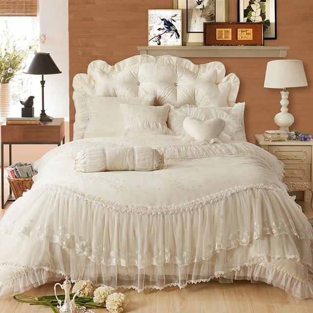 100% cotton jacquard lace wedding bedding set korea princess girls ...