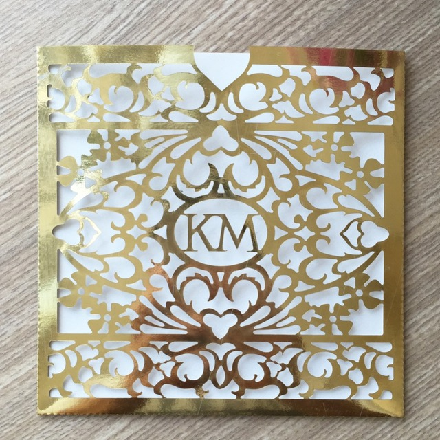 100Pcs LuxuryLaser Cut Pearl Paper Pocket Wedding Invitation Cover Card Customized Initial Words Birthday Party