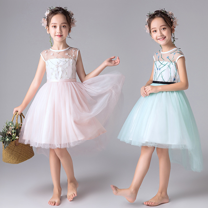 Sweet Pink/Mint Sheer Neck Embroidery Lace High Low A-line   Flower     Girls     Dresses   For Wedding   Girls   Knee Length Prom Party   Dresses