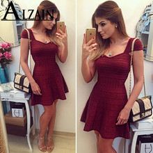 Summer Dress Women Mini Sexy Bodycon Dress Frill Off Sholuder Wrap Short Sleeve Ladies Dresses недорого