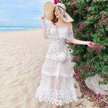 Летнее кружевное платье с цветочной вышивкой, модель года, женское платье на бретельках с вырезом-лодочкой, многослойный сарафан с оборками