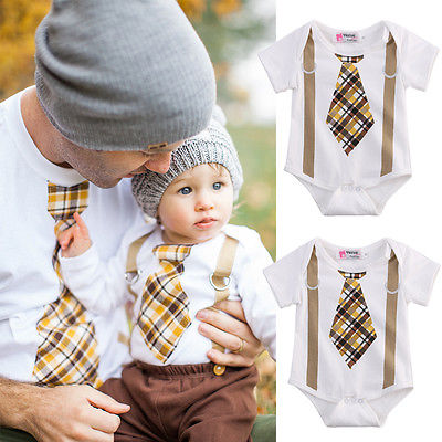 Newborn Baby Boy Clothes Plaid Tan Tie and Suspenders Bodysuit Outfits