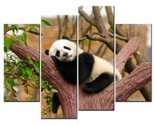 4 Panel Modern 3D Giant panda on a branch pictures canvas Home Decoration living room Wall