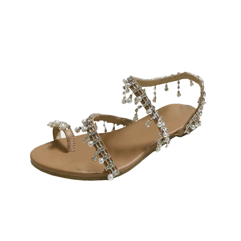 2018 New Sandals Fashion Women Beaded Sandals Summer Shoes Party Sexy Pearl Flat Bottom Sandals zapatos mujer chaussures Z# недорго, оригинальная цена