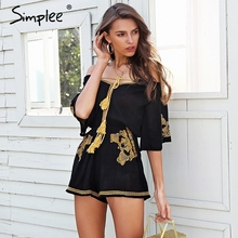 Simplee Off shoulder embroidery jumpsuit romper women Lace up tassel ethnic short jumpsuit 2018 Casual summer romper macacao