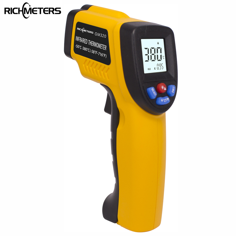 RICHMETERS GM320 Digital infrared Thermometer Adjustable Emissivity Pyrometer Aquarium laser Thermometer Outdoor thermometer