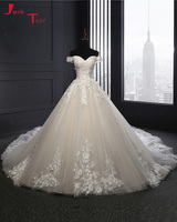 Jark Tozr Real Picture Boat Neck Princess Wedding Dress 2017 China Bridal Gowns Hand Made Flowers