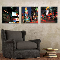Wall Art Picture Street City 3 Panels Set Canvas Print Painting Artwork Oil Painting Gift For