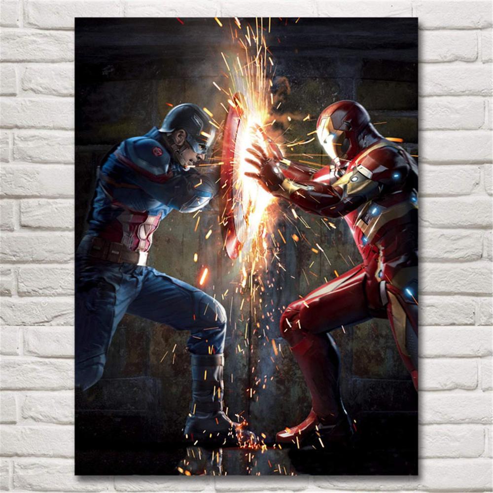 Современная Настенная живопись Мстители персонаж эндшпиль Железный человек Тор Капитан Америка постеры картина холст домашний декор - Цвет: Белый