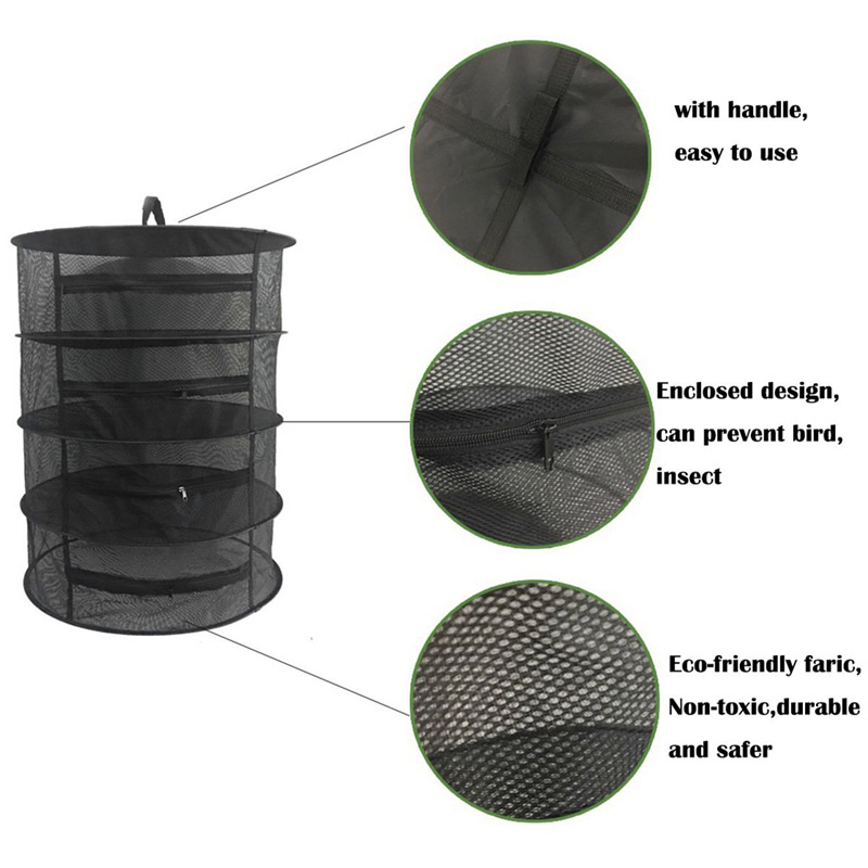 4 Layer Herb Dryer Mesh Hanging Dryer Racks Herb Drying Rack Net with Zipper Hot Sale