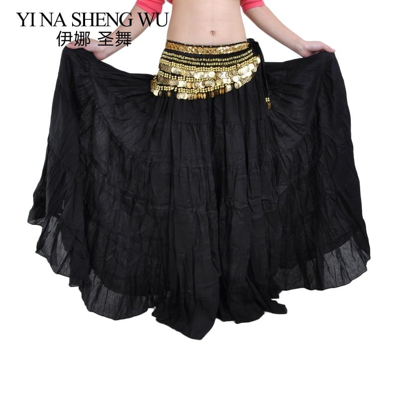 1pc Fashion Tribal Bohemia Dance Long Skirt Swing Gypsy Skirt Women Belly Dance Ballroom Skirt Full Circle Dance Practice Skirt