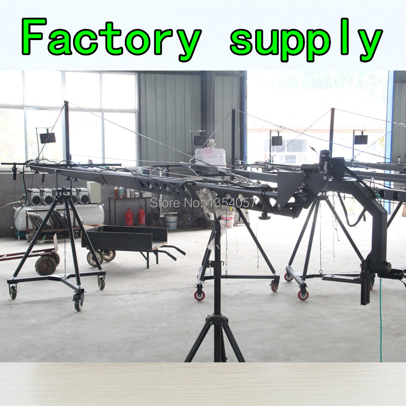 jimmy jib crane  6m 2-axis motorized dutch head video camera  with dolly,monitor,remote controller Factory supply professional dv camera crane jib 3m 6m 19 ft square for video camera filming with 2 axis motorized head