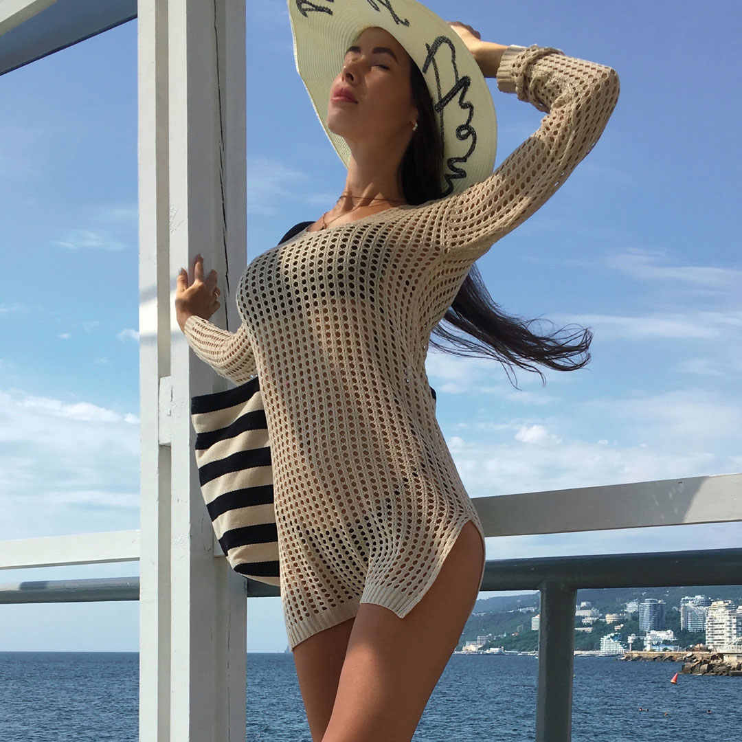 331986930cec0 ... 2019 Sheer See Through Sexy Knitted Crochet Tunic Beach Cover Up Cover-ups  Beach Dress ...