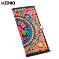 KEENICI National Vintage Women Embroidered Purse Wallet Ethnic Clutch Bag Card Coin Holder Phone Bag Coin Bag Floral Design