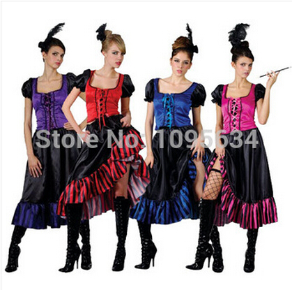 89d0d4e1d60 free shipping Saloon Girl Burlesque Can Can Cowboy Fancy Dress Ladies  Western Costume 4 colors S-5XL