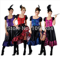 free shipping Saloon Girl Burlesque Can Can Cowboy Fancy Dress Ladies Western Costume 4 colors S-5XL
