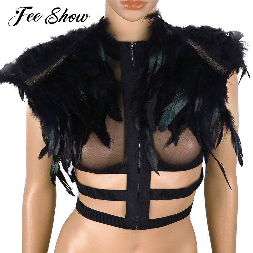 Fashion Women Ladies Gothic Real Feather Cape Shawl Pashmina Scapular Iridescent Epaulet Shrug Shoulder Wrap Halloween Costumes