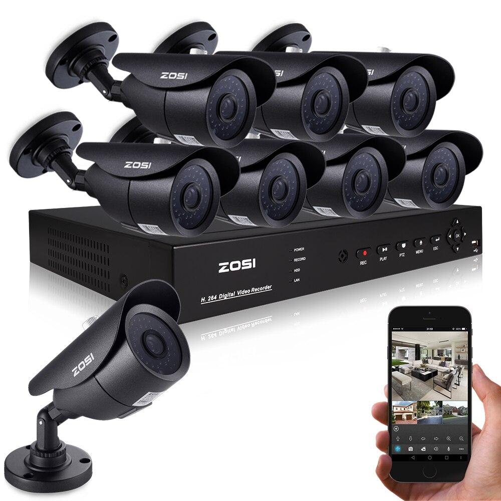 ZOSI 8CH CCTV System 1080P DVR 8PCS 1000TVL IR Weatherproof Outdoor Video Surveillance Home font b