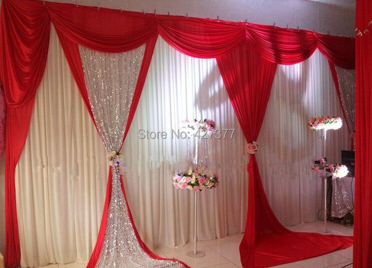 2015 New Design Red Wedding Backdrop White Wedding Drape