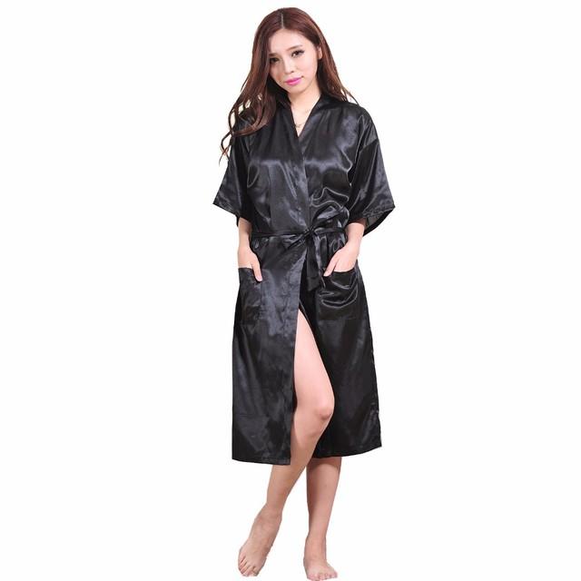 Negro para Mujer traje caliente de la venta de seda del Faux del Kimono de baño vestido Sexy camisón Mujer Pijama tamaño sml XL XXL XXXL Zh02A